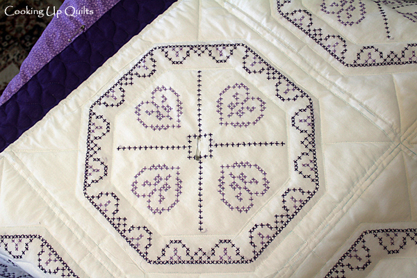 Embroidered Quilt Block in Purple