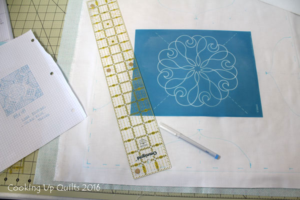 Marking a whole cloth quilt design