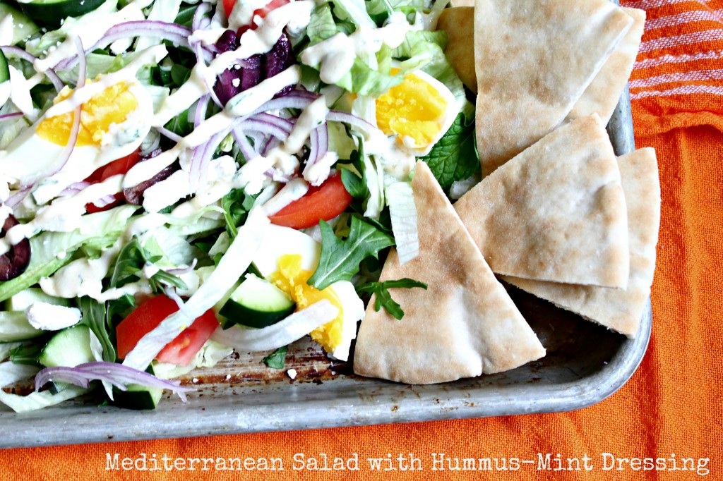 Mediterranean Salad with Hummus-Mint Dressing