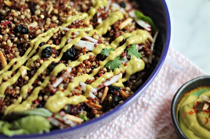 Spiced Grain Salad with Avocado Raspberry-Chipotle Dressing recipe