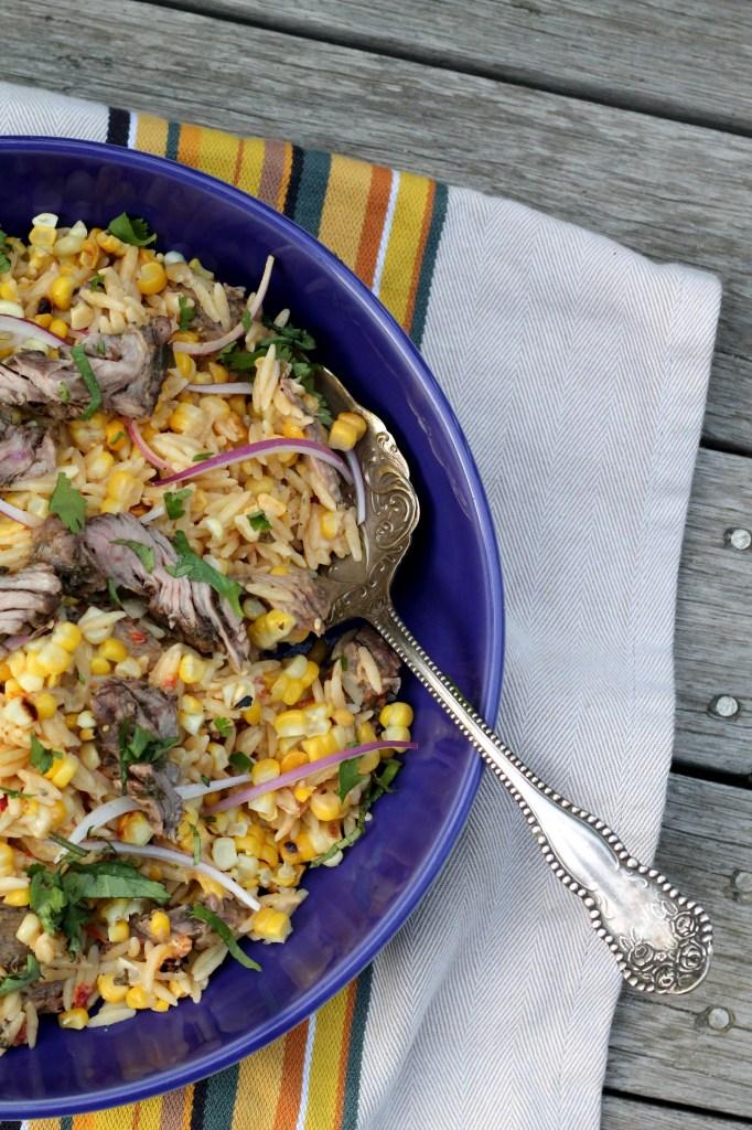 Charred Corn and Steak Orzo Salad with Hummus Vinaigrette 001