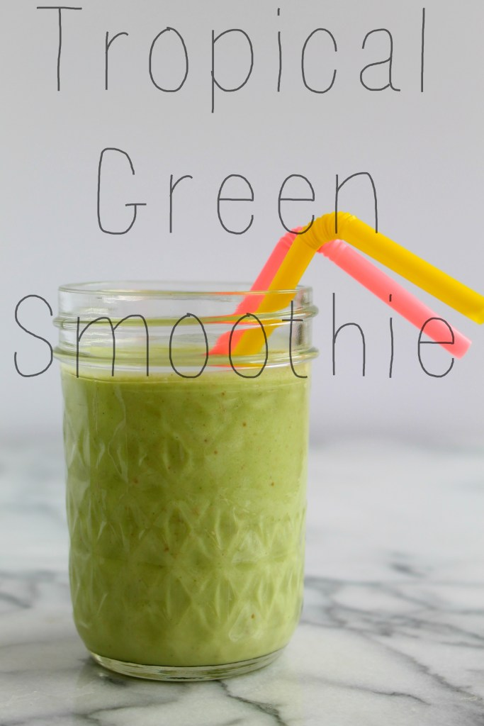 Taste the tropics with this delicious and healthy tropical smoothie recipe, at CookingWithBooks.net