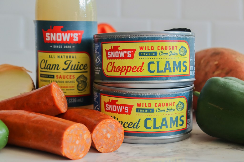 minced and chopped canned clams with chorizo and key ingredients like peppers and onions