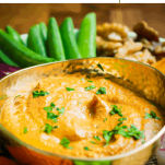 Pinterest graphic for super-speedy muhummara dip - a 6 minute recipe for this delicious Middle Eastern roasted red pepper and walnut dip that is naturally vegan and gluten-free.