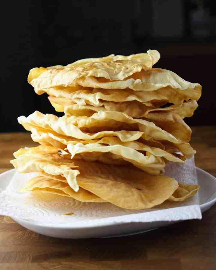 Photo of a plate piled high with poppadums!