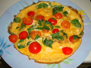 omelette tomate roquette