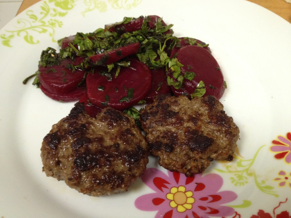 Beef Patties and Beet Salad