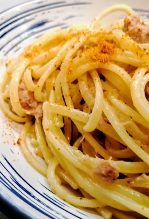 spaghetti bottarga e tonno