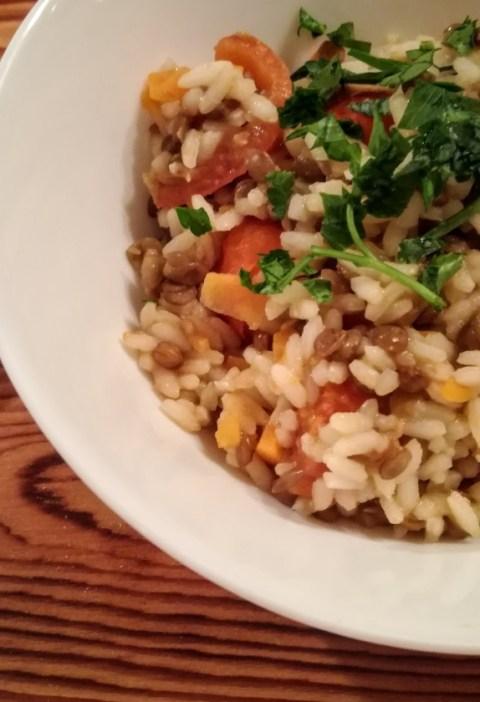 riso con lenticchie e carote