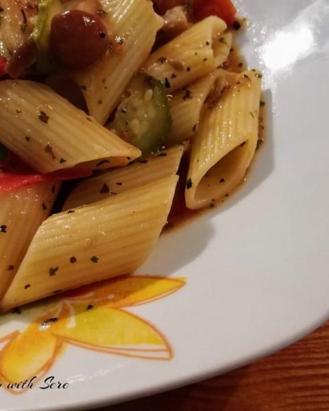 pasta funghi e zucchine