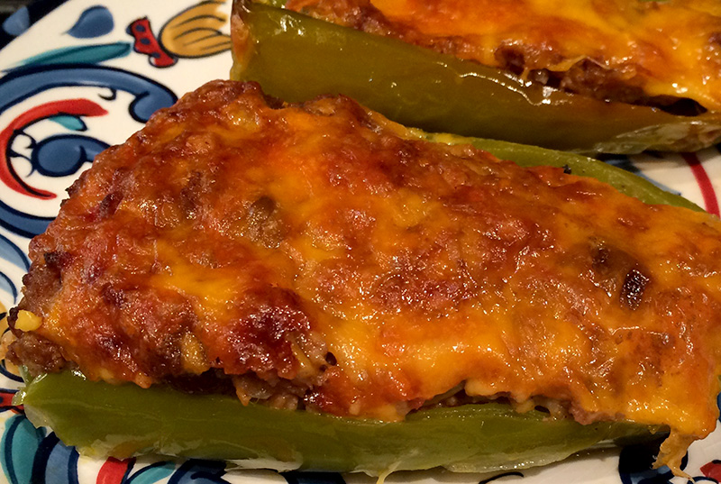 Funny Speaker and Celebrity Chef making stuffed peppers