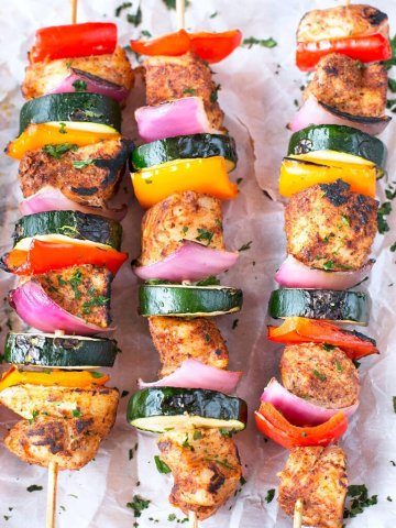 Chili Rubbed Chicken Skewers with Peppers