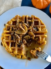 Pumpkin Waffles With Candied Walnuts
