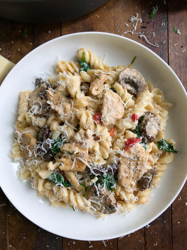 overhead shot of Creamy Chicken and Mushroom Pasta on a plate