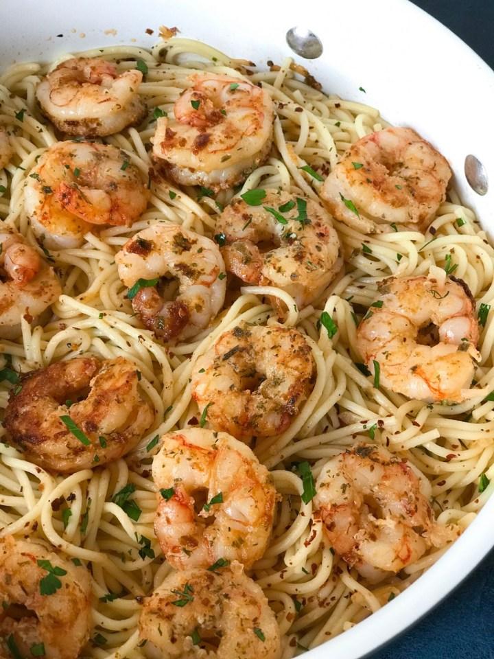 Garlic Pamesan Shrimp Spaghetti