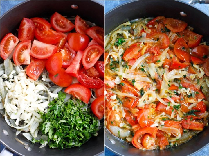 Two shots showing the vegetables being sautéed