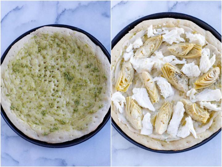 Putting artichokes on a pizza base