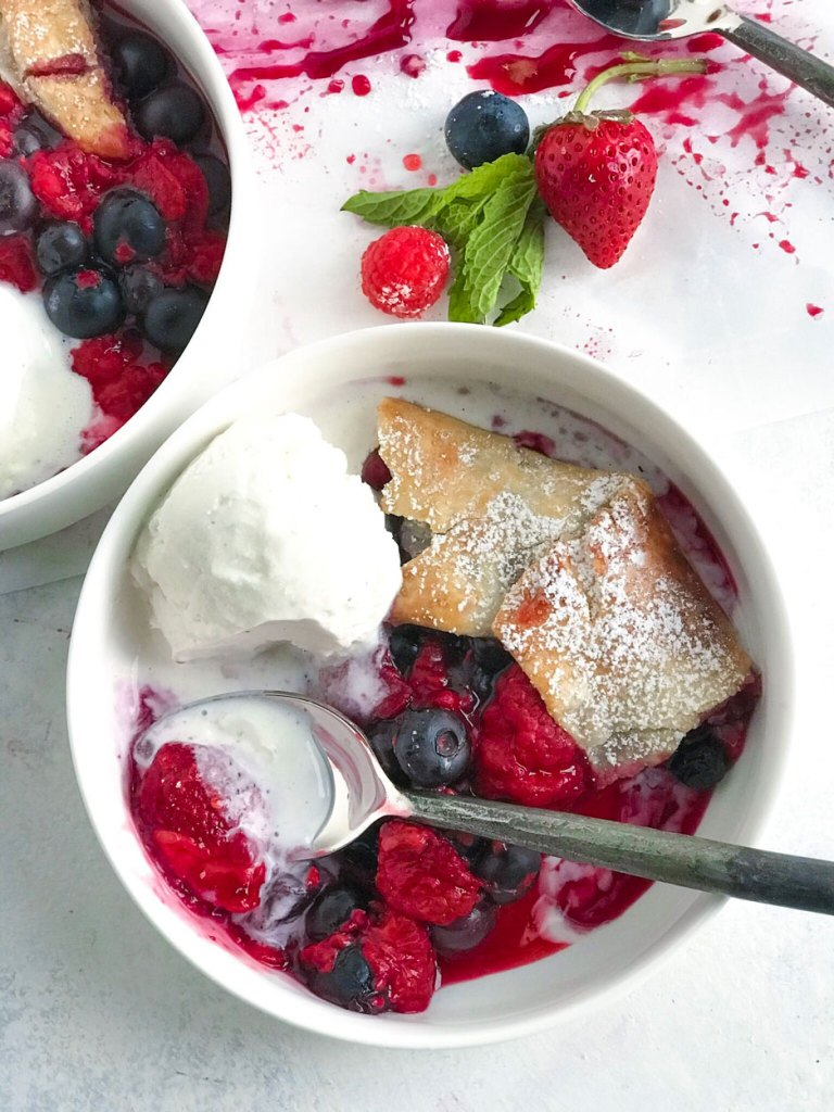Mixed Berry Galette with Vanilla Ice Cream