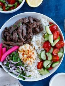 easy beef shawarma bowl