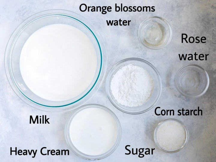 atayef filling mixture ingredients laid out. milk, cream, sugar, corn starch, rose water, orange blossoms water