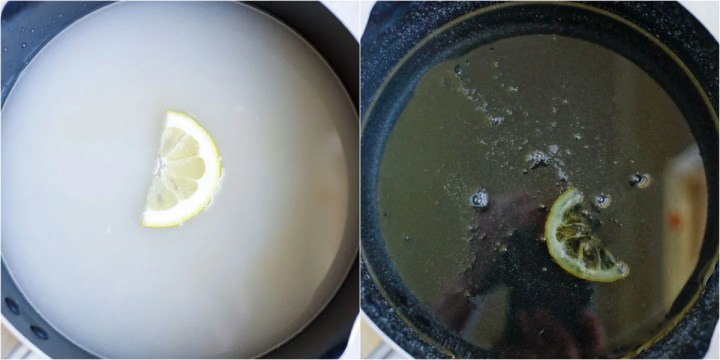 sugar syrup in a pot with a lemon wedge