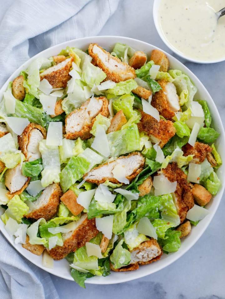 top down shot of crispy chicken salad