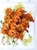 grilled shrimp skewers on a plate