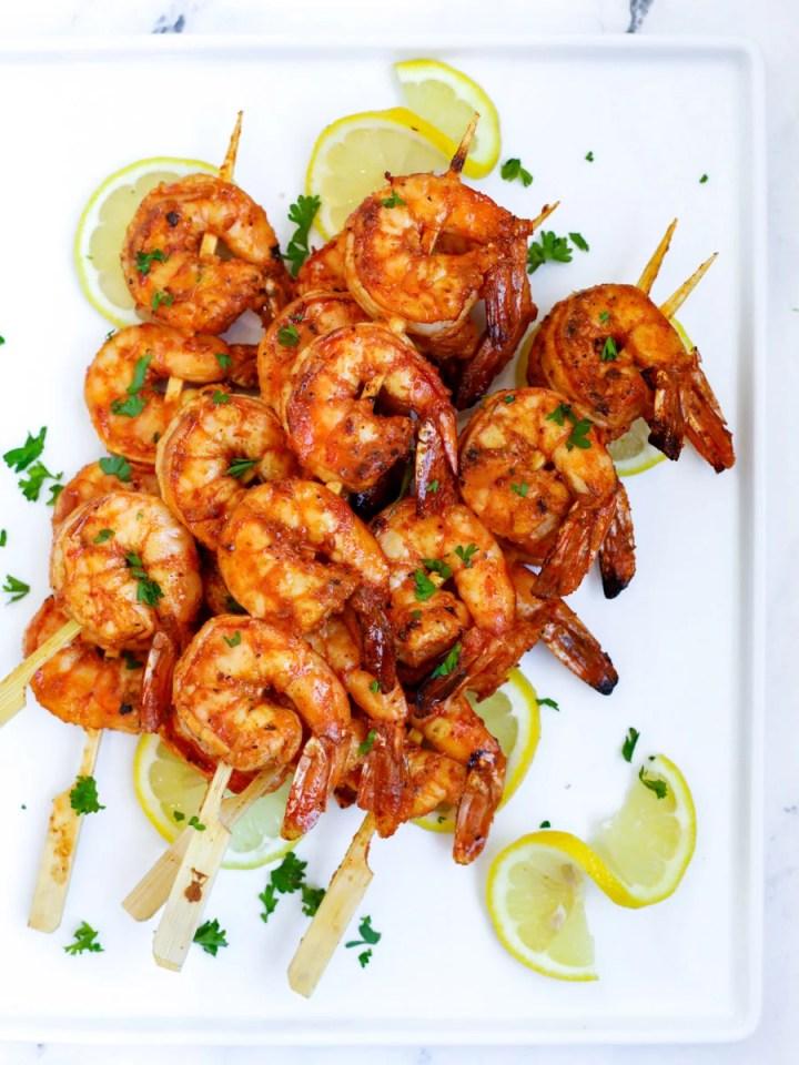 grilled shrimp skewers on a plate