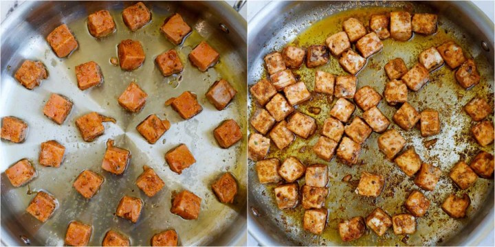 cubed salmon in a skillet