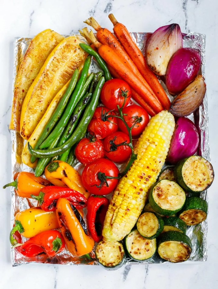 top down shot of vegetables after grilling
