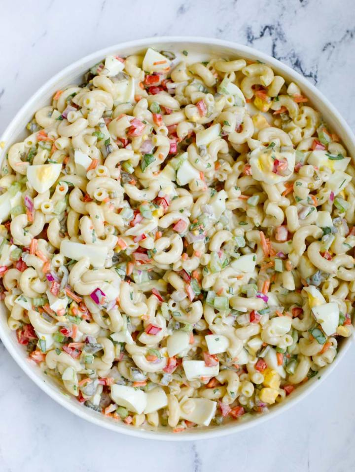 overhead shot of Easy Macaroni Salad in a bowl