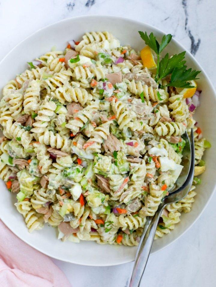 Tuna Pasta Salad Recipe in a white bowl