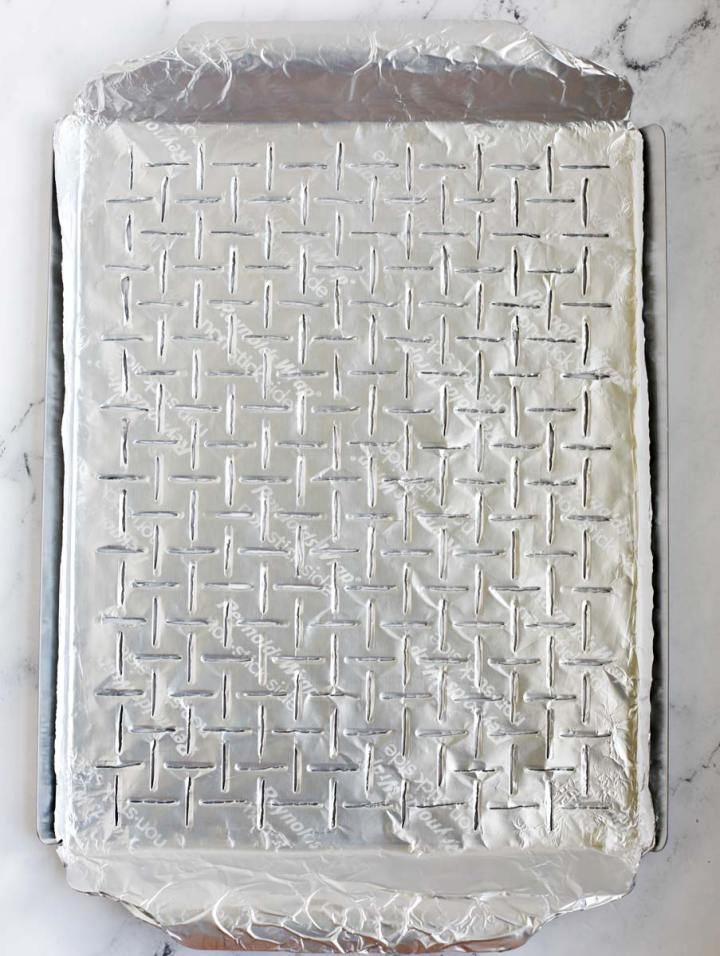 grilling tray lined with Reynolds non stick foil