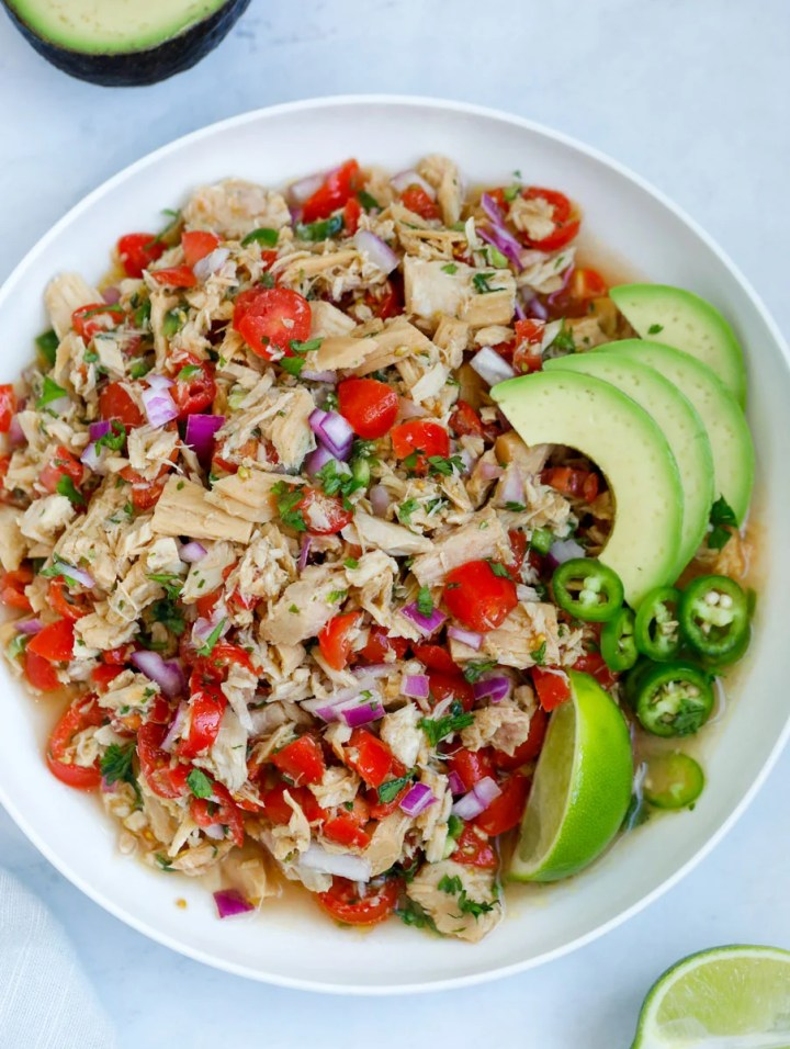 top down shot of Tuna Ceviche
