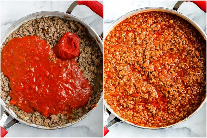 ground beef in a red pot with tomato sauce.