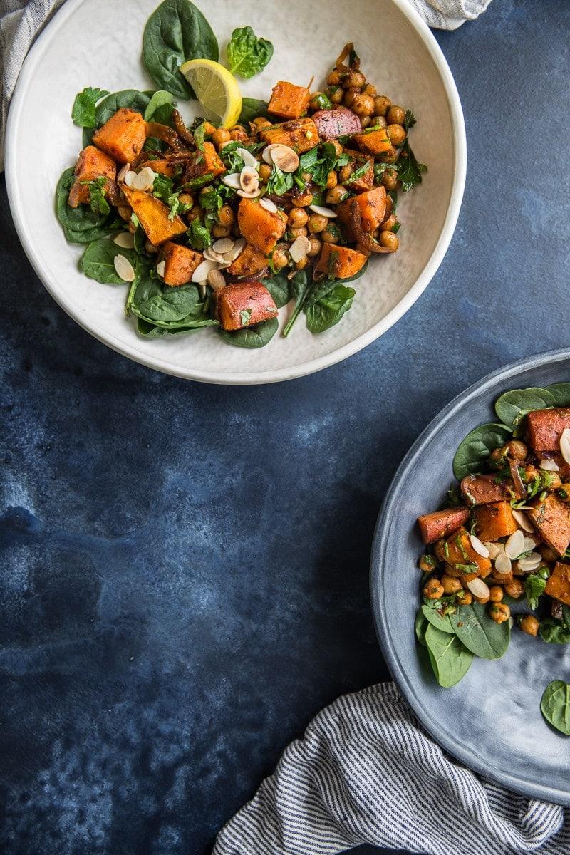 Roasted Sweet Potato Salad With Harissa Chickpeas - Cook Republic #vegan #glutenfree