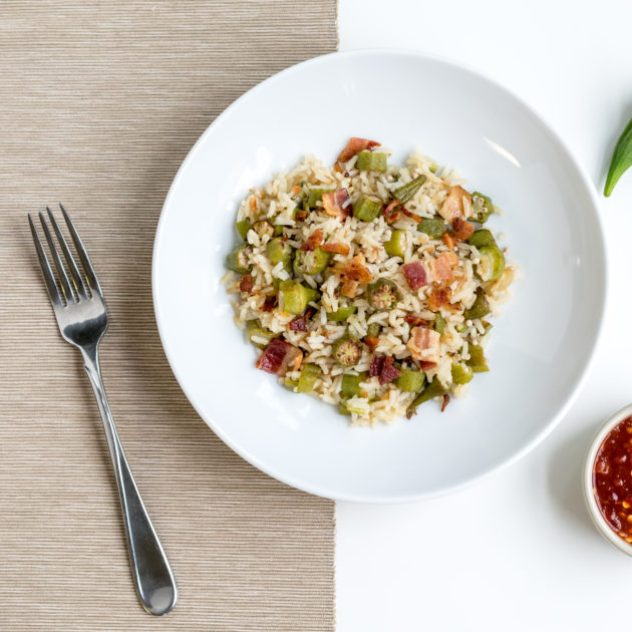 Coconut Rice with Okra and Bacon