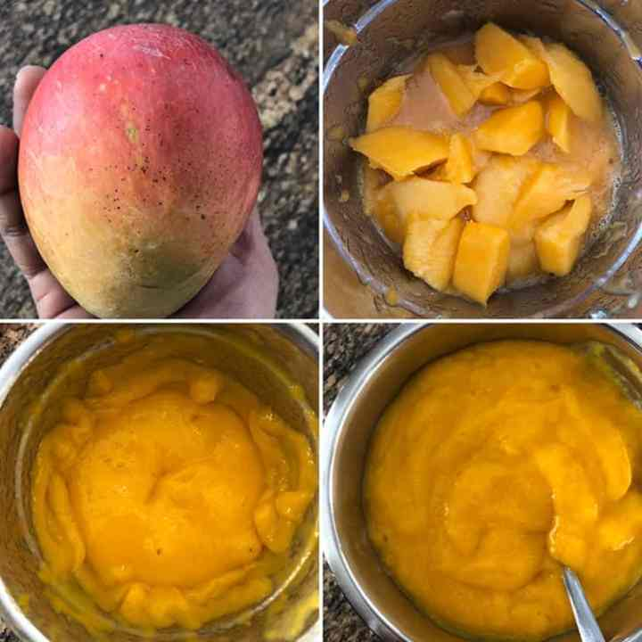 side by side photos showing peeled and chopped mangoes blended to a smooth puree