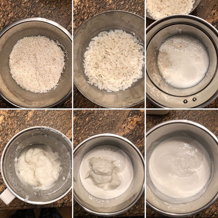 Step by step photos showing soaked rice, ground into a smooth batter