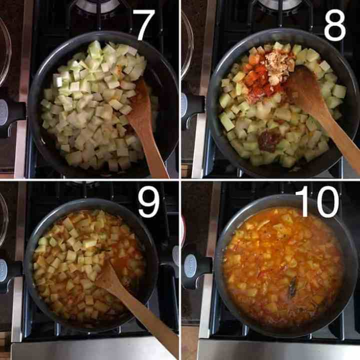 Step by step photos showing kohlrabi curry being made in process