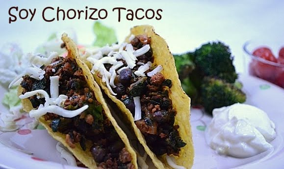 Vegetarian Tacos with Soy Chorizo, Beans & Spinach