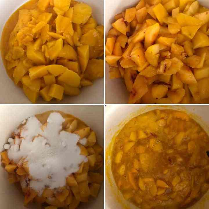 Step by step photos showing chopped mangoes, peaches in a saucepan cooked with sugar until fruit is soft