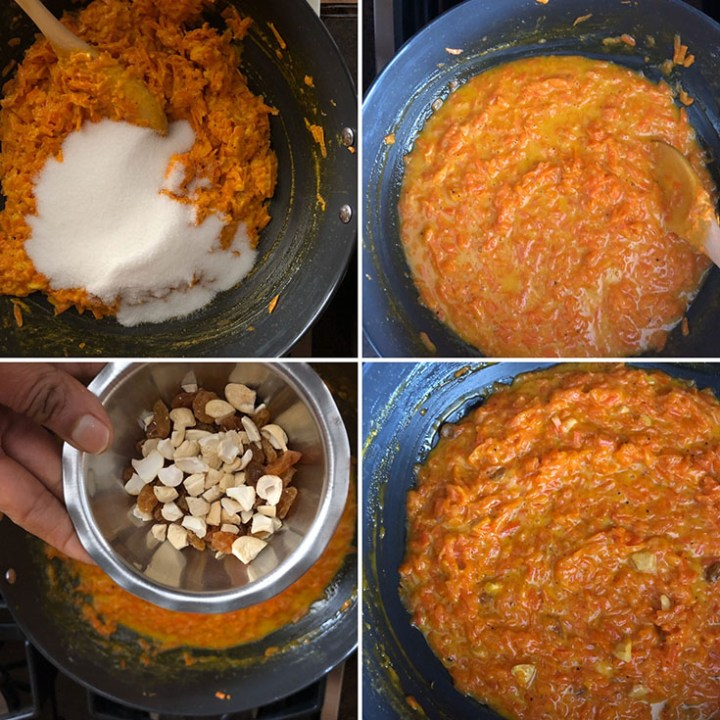 Step by step photos showing cooking of carrot halwa