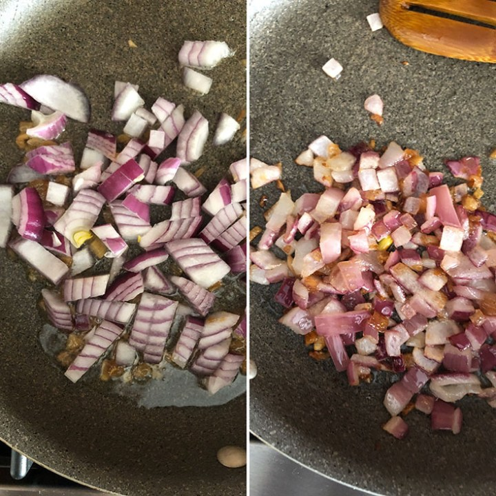 Photos showing sauteed red onions