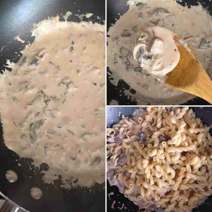 Photos showing thickened cream and pasta
