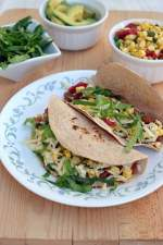 Vegetarian Tacos with Pinto Beans & Cheese