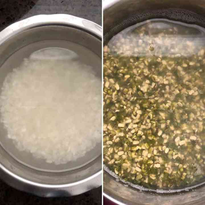 Side by side photos of rice and moong dal soaking in water