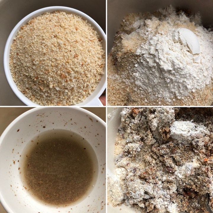 Step by step photos showing breadcrumbs, flour and flaxseed mixture being added to burger mixture