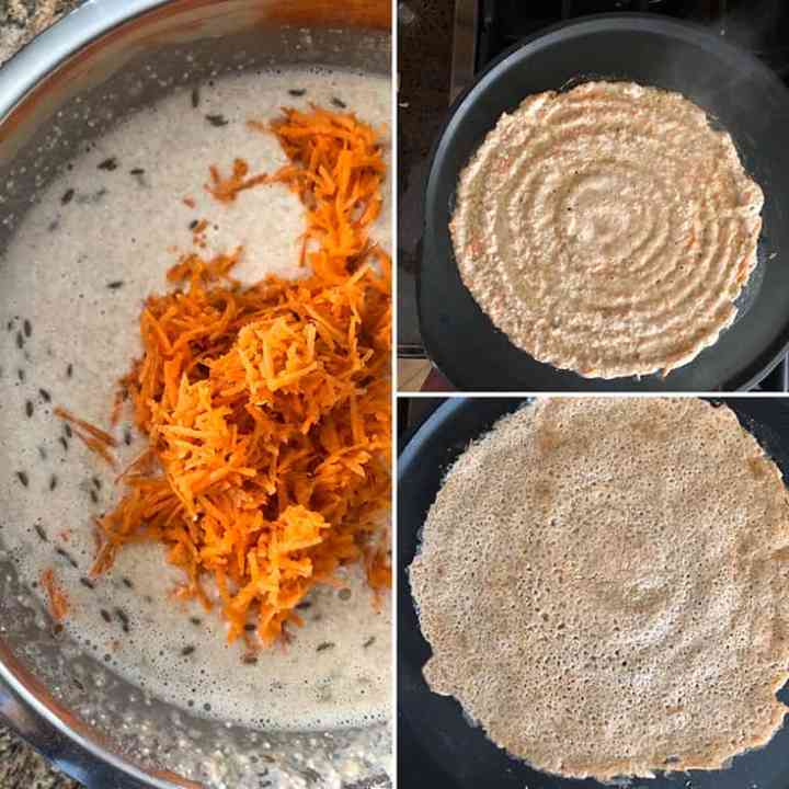 Side by side photos of adding grated carrots and cumin seeds to dosa batter. Making dosa on a hot griddle
