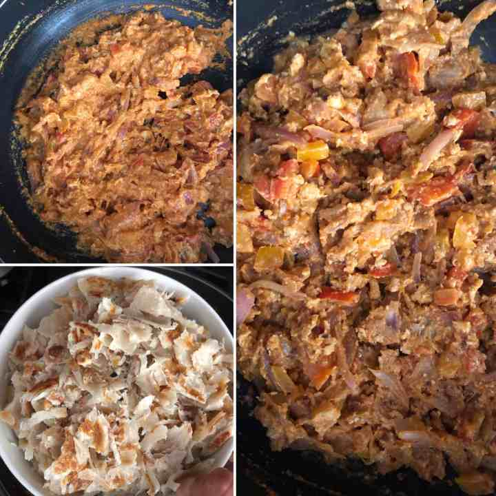 step by step photos showing the making of kothu parotta - adding salna and torn flaky bread to the dish